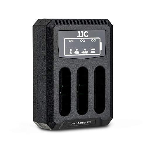 JJC USB Triple Ladegerät Akkulader für Ricoh GRIII, WG-6, Olympus Tough TG-6, TG-5, TG-4, TG-3, TG-2, TG-1, Stylus X-Z2 iHS, SP-100 Kameras für Ricoh DB-110, Olympus LI-90B Akku