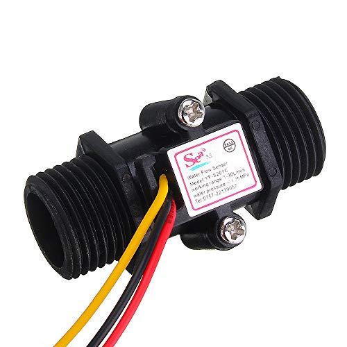 SHANG-JUN Fácil de Montar El Interruptor del Sensor de Flujo de Agua YF-S201C medidor de Flujo de precisión del medidor de caudal Negro caudalímetro de turbina G1 / 2 DN15 (3pcs) Conveniente