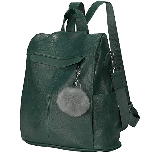 Women Backpack Waterproof Anti-theft Lightweight PU Leather Fashion Purse Shoulder Bag Travel Backpack Ladies (Green)