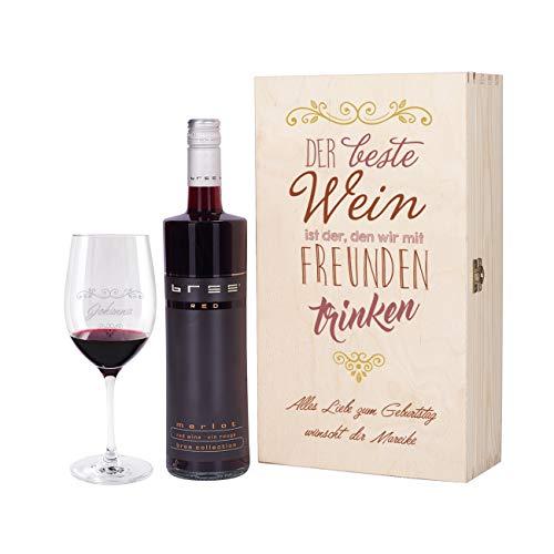 Herz & Heim® Wein Geschenkset mit graviertem Weinglas, Bree Wein zur Auswahl in Geschenkbox für Beste Freunde Rot