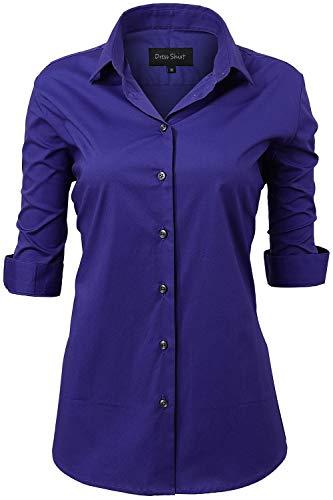 HORSE SECRET Dames zomer blouse Workwear, Basic Hemd Slim Fit 1/2 korte mouwen 97% katoen effen gekleurd plain voor pak zakenwerk met borstzak gemakkelijk te strijken, 11 kleuren, EU38-47