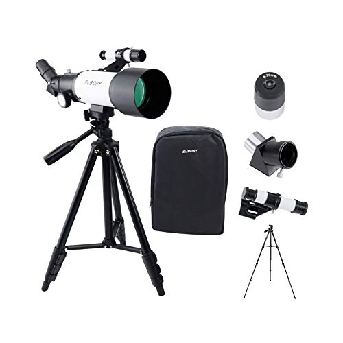 SVBONY SV501P Telescope, 70mm Aperture 400mm AZ Mount, Fully Coated Glass Optical Telescope, Gift Telescope for Adults Beginners Kids, with Tripod and Backpack