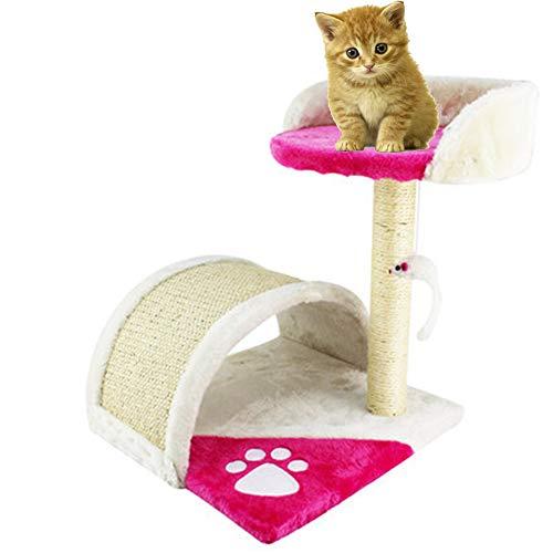 XWDQ Kat Boom Kitten Klimmen Frame Sisal Kolom Kat Springen Platform Kat Speelgoed Huisdier benodigdheden (Rose rood, beige)
