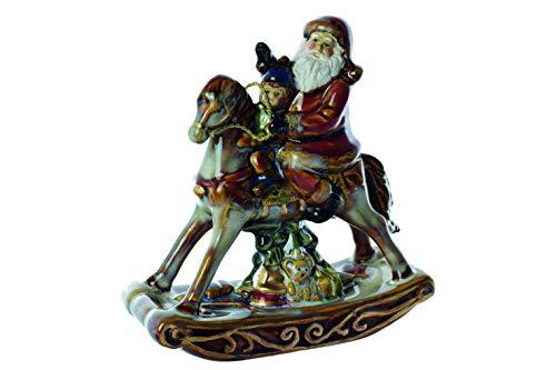 PREZIOSA Luxury Statua Babbo Natale su Cavallo a Dondolo 12,7x5,2x13,8CM 20037