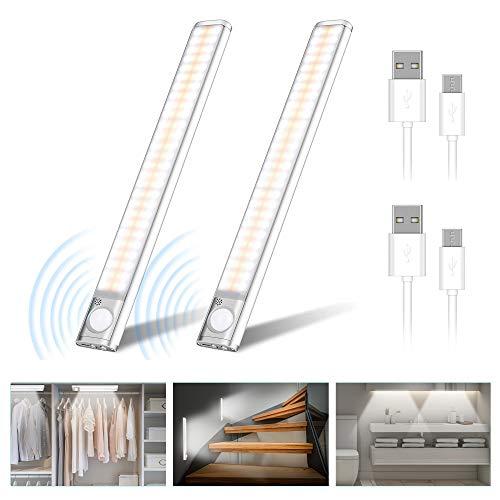 [2 Paquete] Luz Armario 120 LED, USB Recargable Luces LED Armario con Sensor Movimiento, 2 Modos de Sensor Lámpara LED de Armario con Tira Magnética,para Armario, Cocina,Escalera, Pasillo