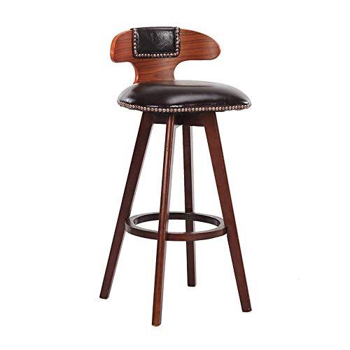 Llslls Home Decor/Barhocker / 23.62-Zoll/Dining Chair Accent Holzdreh Zurück Barstuhl/Stoff gepolstert PVC Cushioned/Mit Pedal (Color : Brown)