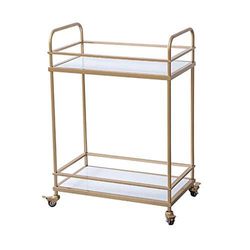 ZLININ Carrito de servicio de metal de 2 niveles para el hogar, restaurante, hotel, vino, agua, carrito de almacenamiento multifuncional (dorado, 86 x 60 x 35 cm)