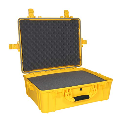 Condition 1 25' XL Waterproof Protective Hard Case with Foam, Yellow - 25' x 20' x 8' #839 IP67 Watertight Dust Proof and Shock Proof TSA Approved Portable Trunk Carrier