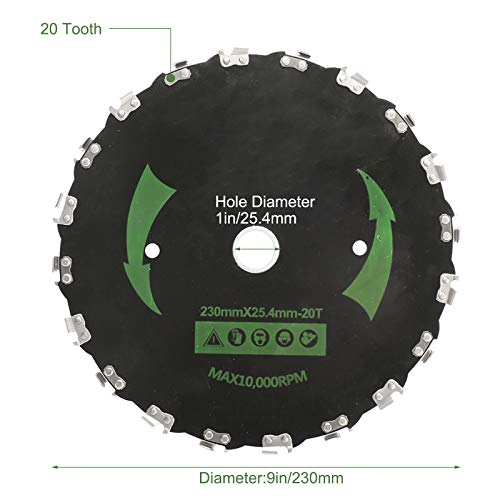 Patioer 2 Pack 9 Inch 20T Chainsaw Tooth Brush Blades for Cutter, Trimmer, Weed Eater, Lawnmower (2 Pack Different Adapter Kit Included)