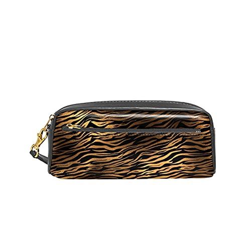 Estuche para lápices de bronce con diseño de tigre negro y piel de animal de tigre para niños, gran capacidad, bolsa de maquillaje, cajas de cosméticos para oficina, bolsa de viaje