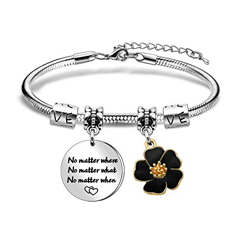 LUXYSODE - No Matter Where What When Bracelet - Long Distance Friendship Inspirational Charm Bracelet Jewellery Gifts for Sister, Best Friend (BR-BKF)