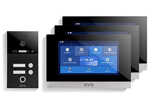 GVS Videoportero IP IP65 con RFID y huellas dactilares, 3 monitores de 10 pulgadas, aplicación, cámara HD de 150°, apertura de puertas, memoria de 32 GB, interruptor PoE, juego de 2 casas, AVS5261U