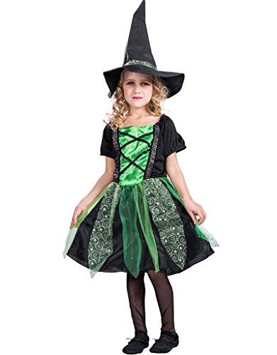 EraSpooky Ragazze Fiaba Classico Costume di Halloween da Strega Fancy Dress con Cappello