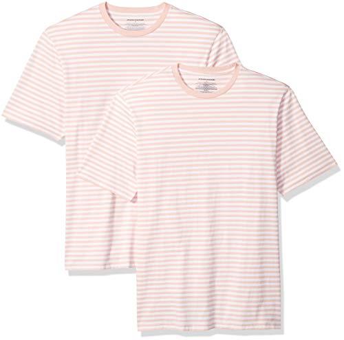 Amazon Essentials Men's Loose-Fit Short-Sleeve Stripe Crewneck T-Shirts, Pink/White, Large