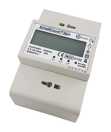 SchellCount 3bm - digitaler Stromzähler Drehstromzähler für DIN Hutschiene mit S0 1000 Imp/kWh Rücklaufsperre MID geeicht