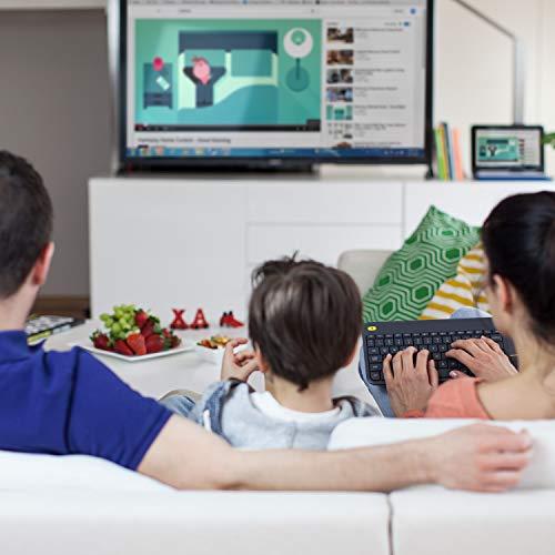 Logitech K400 Plus Kabellose TV-Tastatur mit Touchpad, 2.4 GHz Verbindung via Unifying USB-Empfänger, Programmierbare Multimedia-Tasten, Windows/Android/ChromeOS, Englisches QWERTY-Layout - schwarz