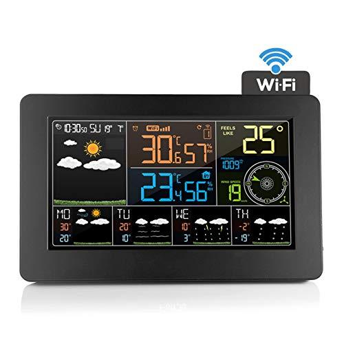 ASY WiFi Multifunzione Stazione Meteo Digitale Wireless Meteorologica Professionale con sensore Esterno Oregon LCD Display Sveglia Tempo Data Temperatura umidità Previsioni