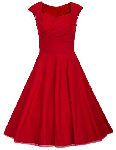 DRESSTELLS 50er Retro Audrey Hepburn Schwingen Pinup Polka Dots Rockabilly Kleid Red L