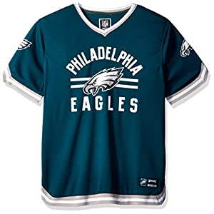 Ultra Game NFL Philadelphia Eagles Mens Standard Jersey V-Neck Mesh Stripe Tee Shirt, Team Color, Medium