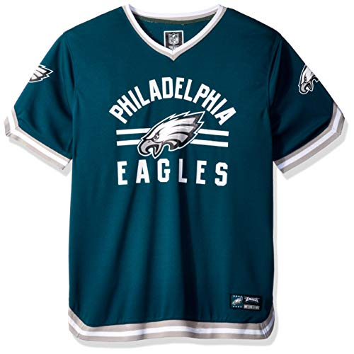 Ultra Game NFL Philadelphia Eagles Mens Standard Jersey V-Neck Mesh Stripe Tee Shirt, Team Color, Large