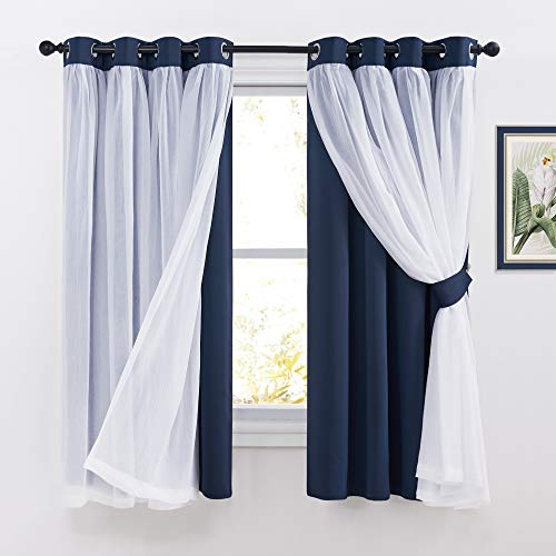 PONY DANCE Blackout Curtains with Sheer - Decorative 2 Layers Voile Crushed Drapes Elegant Window Covering for Bedroom Decor, 52 x 63 inches, Navy Blue, Pack-2