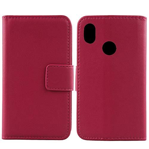 Gukas Design Echt Leder Tasche Für BQ Aquaris C Hülle Lederhülle Handyhülle Handy Flip Brieftasche mit Kartenfächer Schutz Protektiv Genuine Premium Hülle Cover Etui Skin (Rosa)