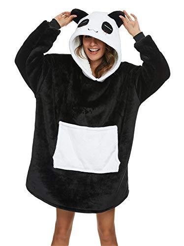 Couverture à Capuche Flanelle Douce Robe Sweat Pull Chaude et Confortable TV Couverture Sweat à Capuche Épaisse - Surdimensionnée Grande Poche (Panda Noir et Blanc, L(Hauteur recommandée 170/190)