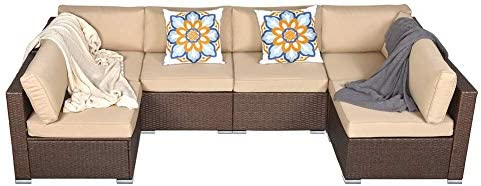 Best Outdoor Patio Furniture Set,6 Piece PE Rattan Wicker Sectional Sofa Set, Outdoor Couch Furniture Cha