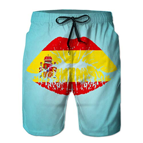 Xunulyn Herren Beach Shorts Boardshorts Atmungsaktive Badehose Spanien Flagge Lippenstift auf den Lippen isoliert auf einem