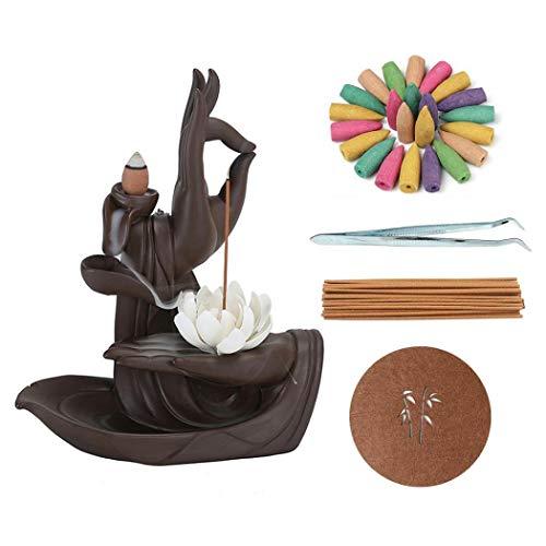 Lotus Rückfluss-Räuchergefäß Wasserfall-Keramik-Räucherstäbchenhalter, Räucherkegel, Halter, Heimdekoration, Geschenke, mit 120 Räucherkegeln