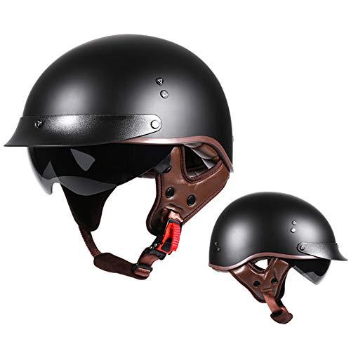 ZHAORU Medio Casco de Motocicleta Retro, Casco de Scooter con certificación Dot, Casco de Media Cara con Visera, Gafas UV, para Adultos, Casco Joven Usado, 57-63cm