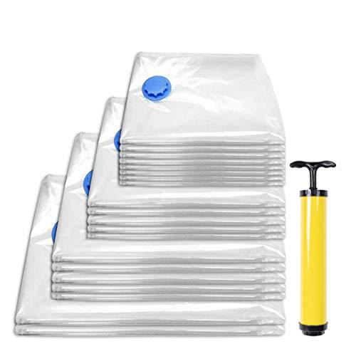 20 Premium Bolsas de Almacenaje al Vacío, Ahorradoras de Espacio| Reutilizable, Extra Fuerte, Impermeable, 100% de Protección| Vacuum Storage Bags para Viajes Guardar Ropa etc| 4 Tamaños (S M L XL).