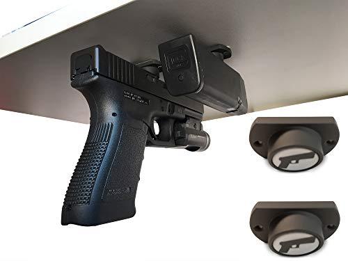 2-Pack   Gun Magnet w/ Adhesive Backing   Car Holster   Bedside Holster   Steering Wheel Gun Holster   Under The Desk Pistol Holster   Gun Holsters For Cars   Vehicle Gun Mount   Pistol Holster In Car