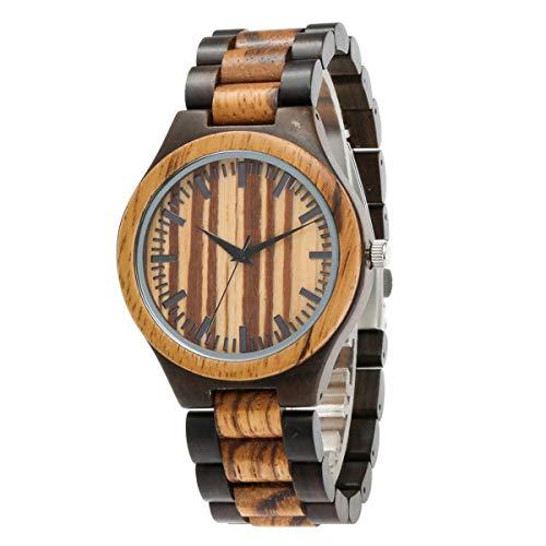 MLYWD Armbanduhr Holz Quartz, Quarz Holzuhr Uhren Geschenkset für Männer Frauen, Analog Quarz Mit NatüRlicher Sandelholz Armband