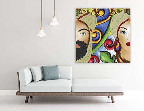 Quadro Stampa su Tela, Teste di Moro. Design Siciliano, fine Art Made in Sicily. (100 x 100 cm.) Misure Personalizzabili su Richiesta.