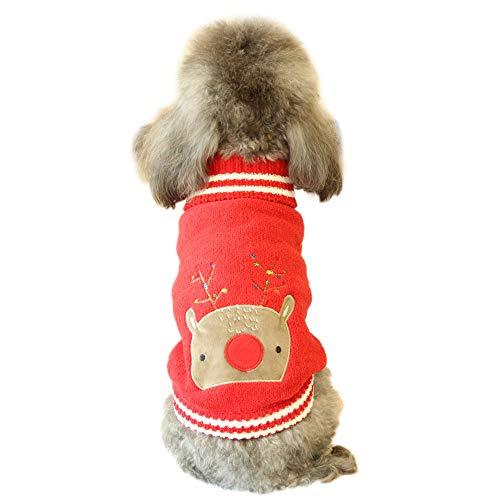 Oncpcare Hundepullover mit Rentier-Strickbekleidung, für den Außenbereich, weich, verdickt, warm, für Haustiere, für kleine Hunde und Katzen