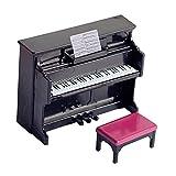 lahomia Casa de muñecas Piano Miniatura con Taburete Instrumento Musical Juego de simulación 12 casa de muñecas Muebles Escena de la Vida Juguetes - Negro