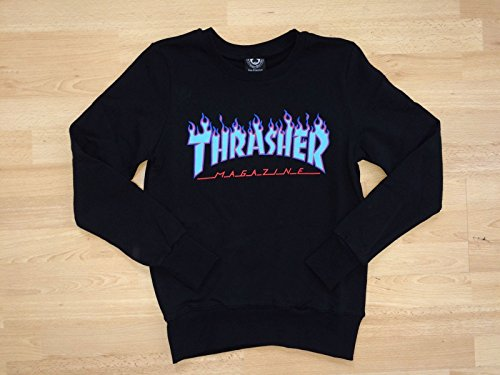 THRASHER Skate Mag Hood Felpa da Uomo, Uomo, Felpa, 113103L/NY, Blu Navy, L