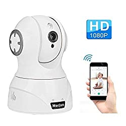 Mucjun Security Wireless IP Camera, HD 1080p WiFi Home Surveillance Camera Baby Monitor for Nanny/Elder/Pet, 2 Way Audio Night Vision Motion Detection Alert, Pan/Tilt/Zoom Remote -Work with Alexa