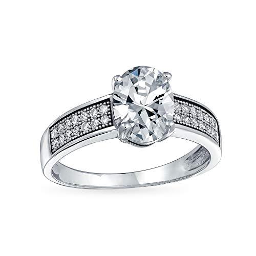 2CT Brillante Ovale AAA Solitario CZ Anello di Fidanzamento per La Donna Anello Fascia Micropave 925 Sterling Argento