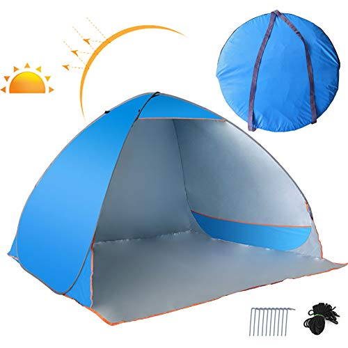 SAHWIN Pop Up Beach Tent, for 3-4 Person,Rated UPF 50+ for UV Sun Protection,Waterproof Sun Shelters for Family Camping, Fishing, Picnic