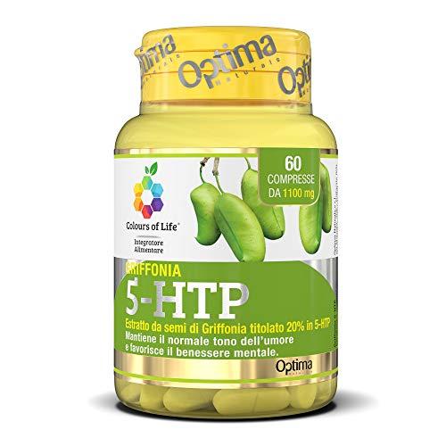 Colours of Life - Griffonia 5-HTP - Integratore di Semi di Griffonia - Mantiene il Normale Tono dell'Umore e Favorisce il Benessere Mentale - Senza Glutine e Vegano, 60 Compresse