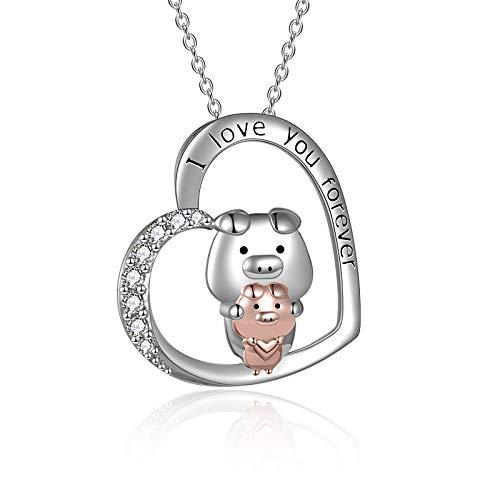 YFN Collar de cerdo para el día de la madre, regalo para mamá de hija, plata de ley, collar de corazón para mujeres y niñas