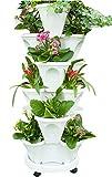 Macetas apilables con Soporte Macetas de Fresas, macetas apilables de jardinería Vertical de 6 Niveles, macetero de Fresas y Hierbas, con Bandeja móvil (White)