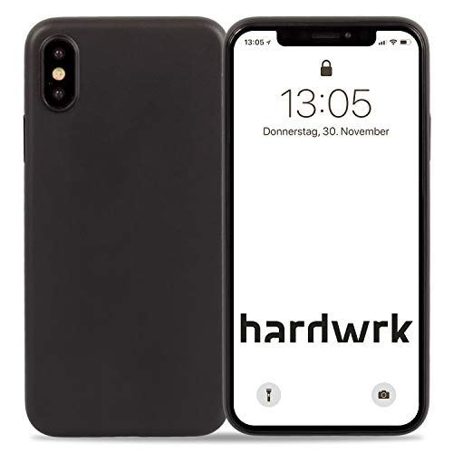 hardwrk Ultra-Slim Case - kompatibel mit Apple iPhone XS Max - solid Black - Elegante Schutzhülle Handyhülle Cover Hülle - Unterstützt kabelloses Laden - Qi - Wireless Charging - schwarz