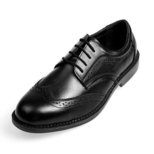 [Placck安全] メンズ ビジネスシューズ 防滑 安全靴 作業靴 セーフティーシューズ 本革 革靴 紳士靴 ウィングチップ 25.5cmブラック 25.5 cm