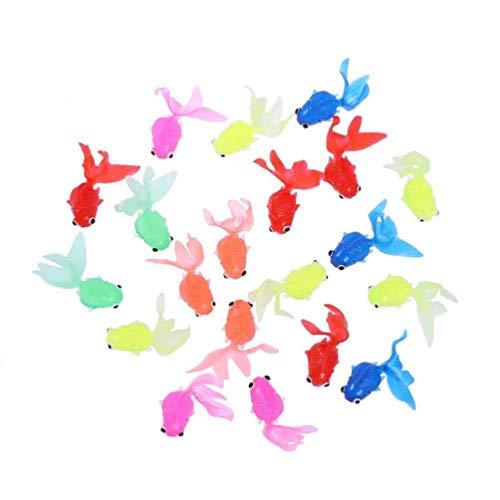 10 unid juguetes de pescado juguetes de pez Goldfish divertido regalos decoración de la decoración del tanque de peces favores de favores de peces de oro Conjunto de niños Juguete para niños para Home