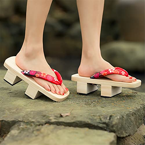 Kimono tradicional japonés Cosplay Anime Mujer Zuecos de madera Chanclas Zapatillas Geta Modelo Fiesta de disfraces, Zapatos de escenario Mostrar regalo Sandalias de playa al aire libre