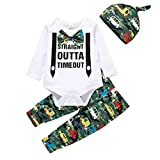 Verve Jelly Infant Baby Boy Fall Clothes Print Letter Gentleman Bow Tie Romper Body Pantalones Sombrero 3pcs Outfit Set Chándal Blanco 18-24 meses