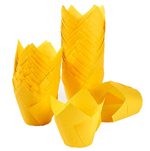 Tulip Cupcake Liners, 150 Pack, Medium - Baking Cups - Muffin Wrappers - Perfect for Bakeries, Catering, Restaurants, Yellow